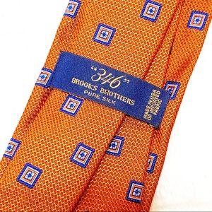 Brooks Brothers Orange & Blue Pattern 346 silk Tie